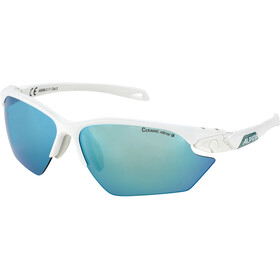Alpina Twist Five HR S CM+ Okulary rowerowe, white matt-pistachio/emerald mirror